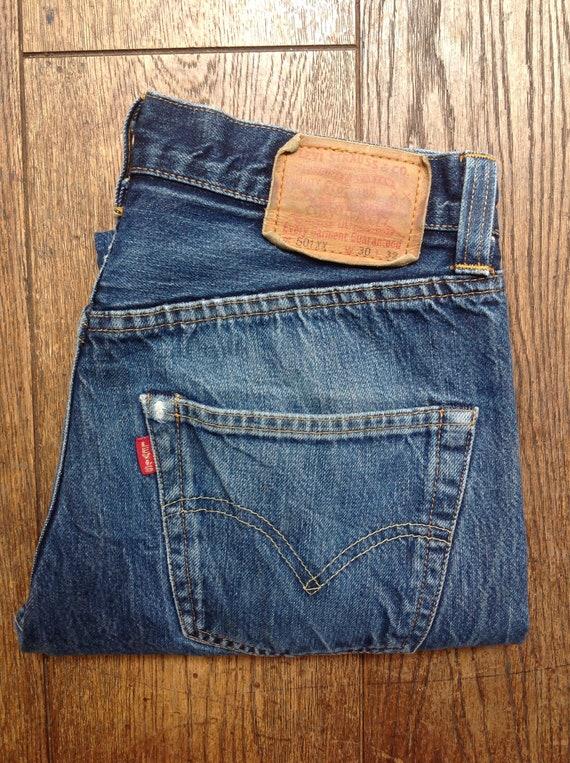 "Vintage Levis LVC 501 XX indigo blue denim jeans big capital e red tab selvedge 28"" x 31"" button fly"