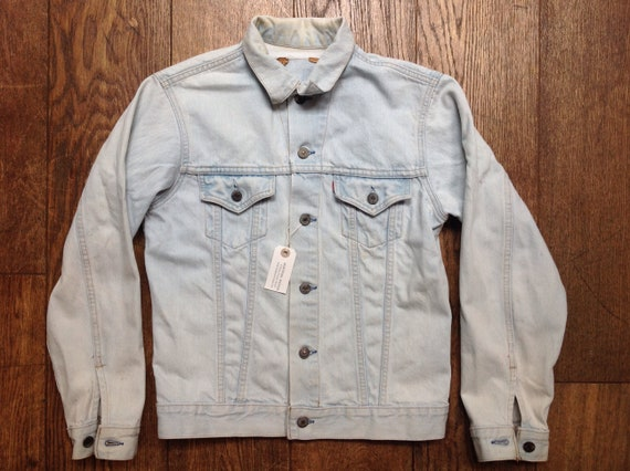 "Vintage 1980s 80s Levis Levi Strauss pale washed out denim type three trucker jacket small e red tab 40"" chest workwear"