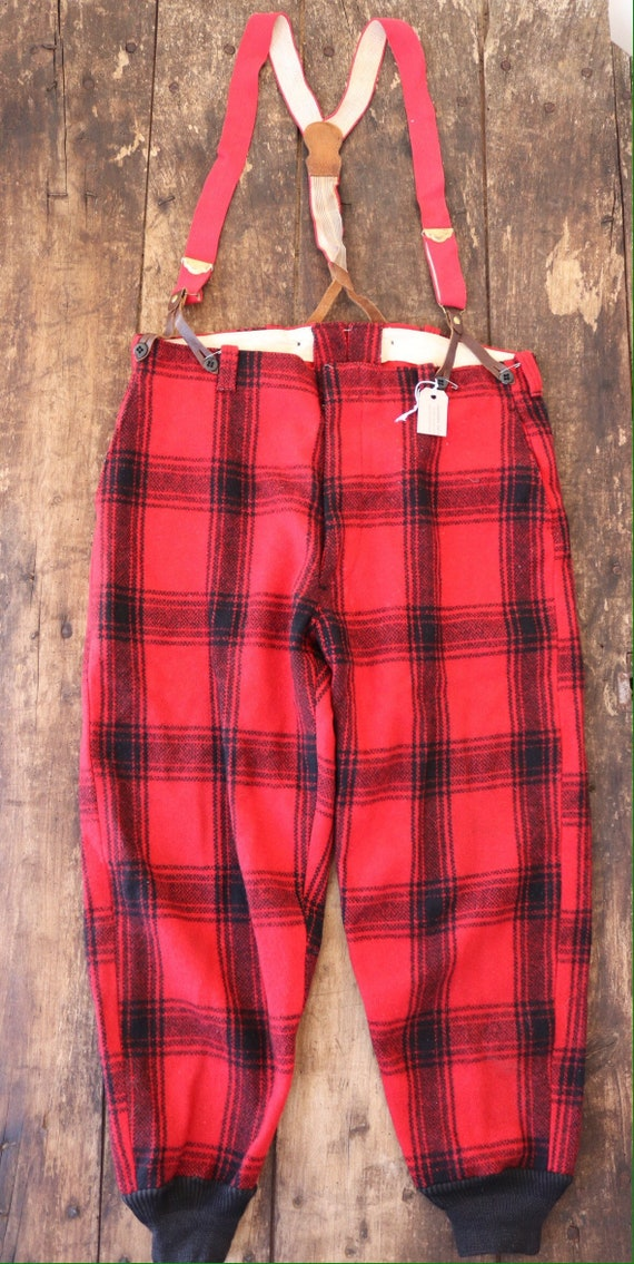 """Vintage 1960s 60s Pine Creek red black checked plaid wool hunting trousers breeches suspender buttons 36"""" x 30"""""""