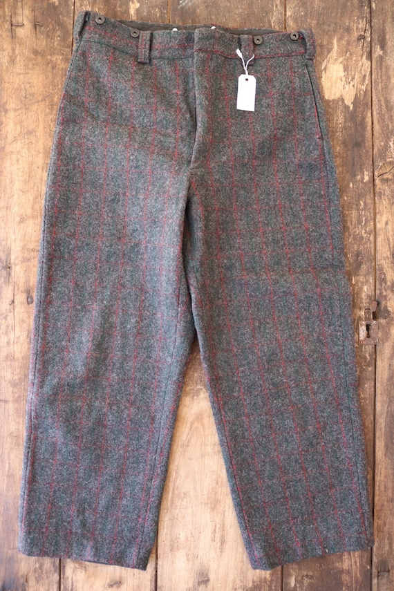 """Vintage Woolrich grey red green checked plaid wool hunting trousers pants suspender buttons 35"""" x 28"""""""