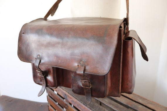 Vintage 1940s 40s 1950s 50s french large XL conker brown leather document shoulder bag satchel weekend luggage
