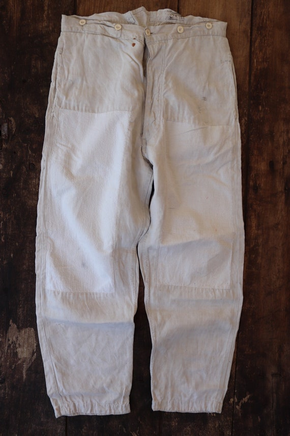 """Vintage 1930s 30s white french army M1879 cotton fatigues trousers pants workwear 30"""" x 28"""" suspender brace button fly buckle back v notch"""