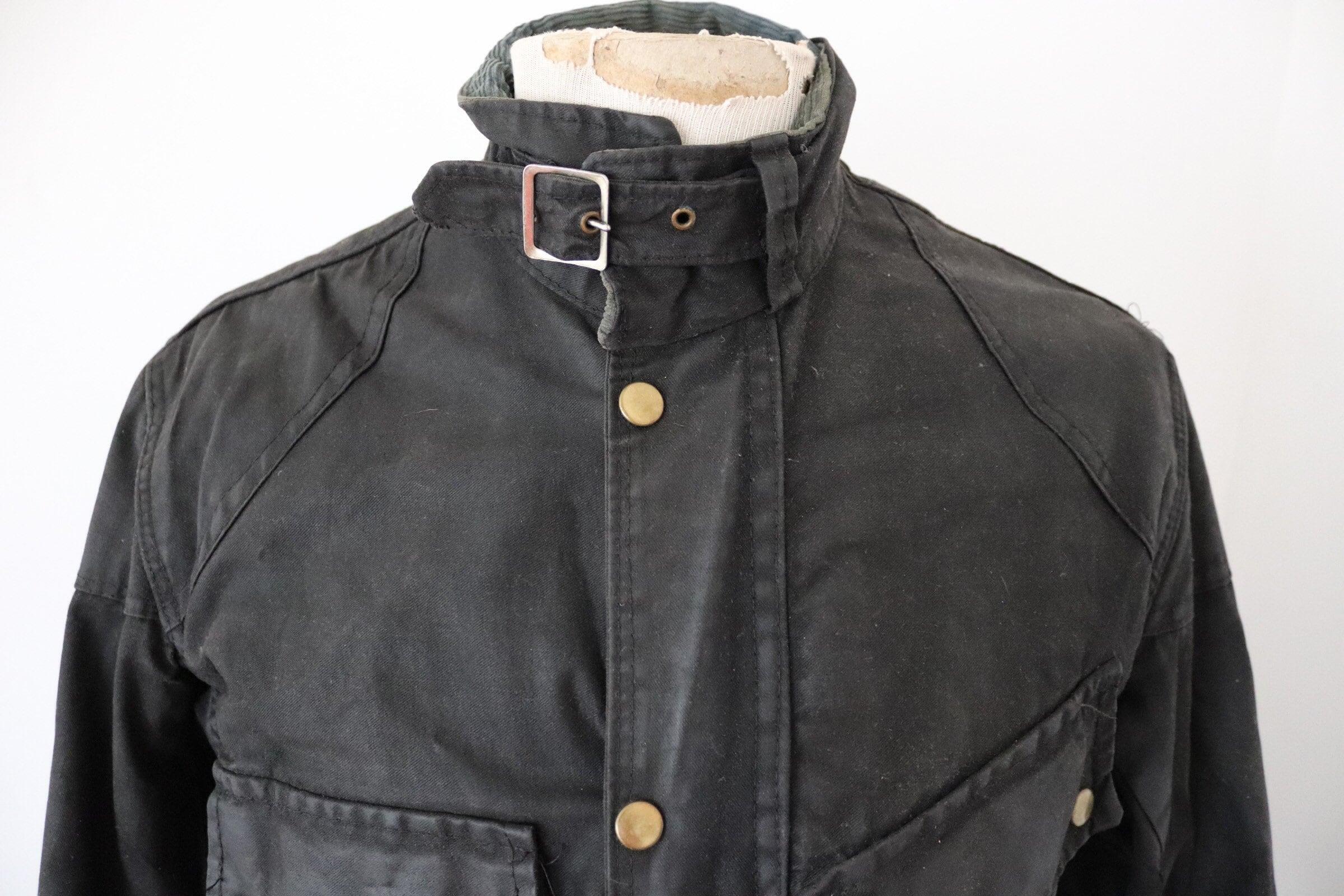 Vintage 1970s 70s Sylman Black Waxed Cotton Jacket