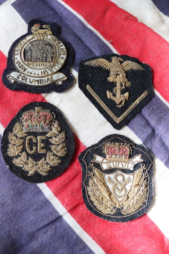 Vintage antique set of four British military army Royal Navy bullion gold wire badges patches uniform