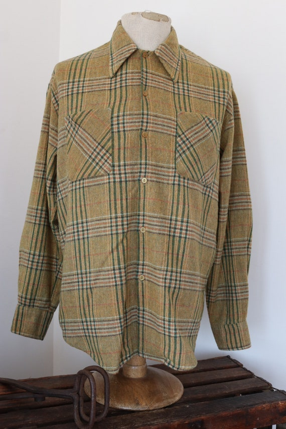 "Vintage yellow green 1960s 60s Campus wool checked plaid shirt Ivy League style mod 47"" chest"