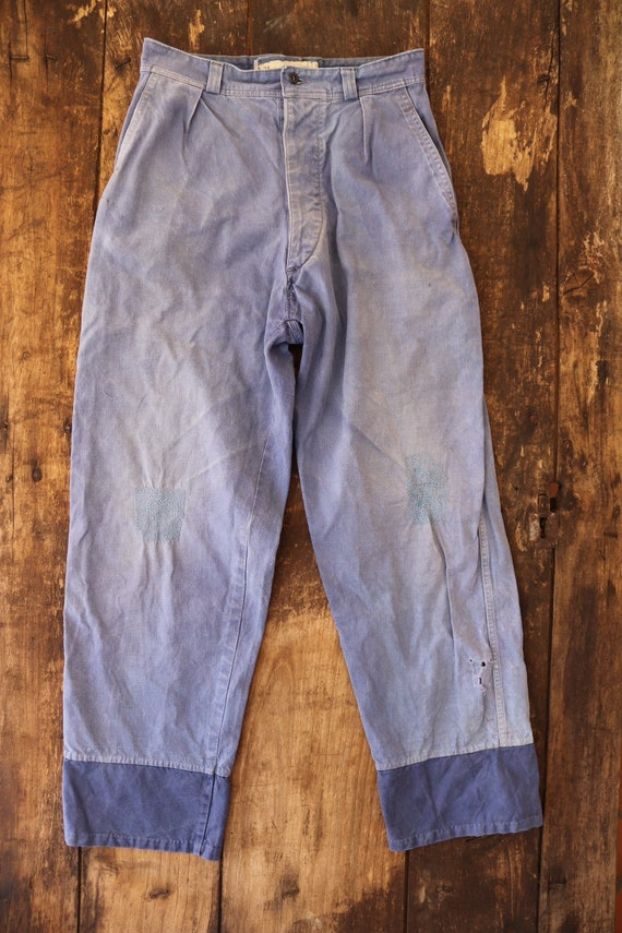 """Vintage french bleu de travail blue faded repaired darned patched chore workwear trousers pants button fly 28"""" x 28"""""""
