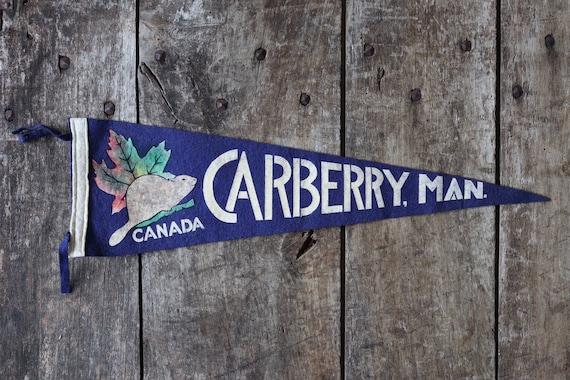Vintage 1960s 60s blue felt pennant flag tourist souvenir Canada Canadian Carberry Manitou beaver wall decor shop retail display