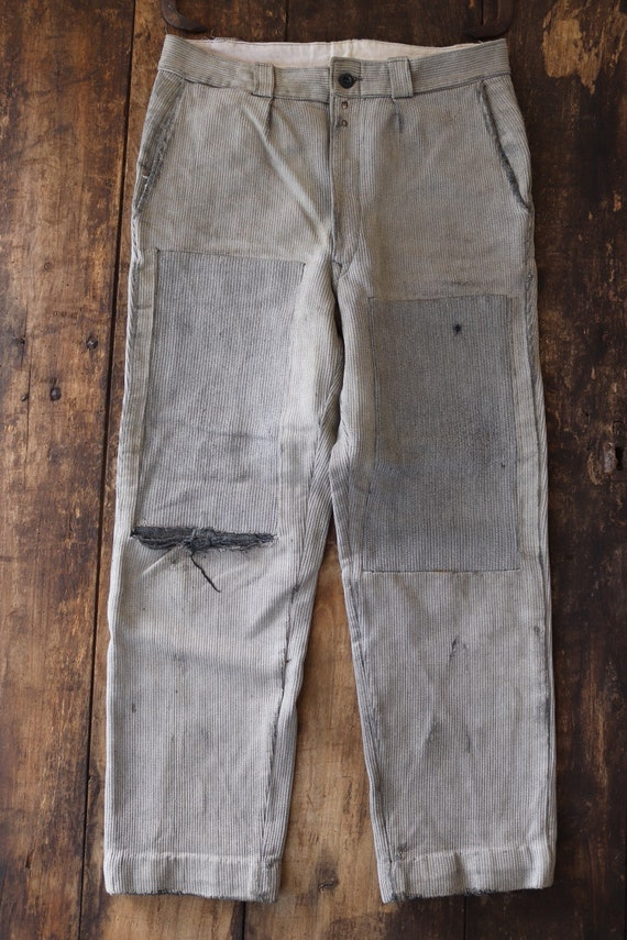 """Vintage 1940s 40s french grey pique corduroy cotton work chore hunting trousers pants 32"""" x 28"""" workwear repair project darned button fly"""
