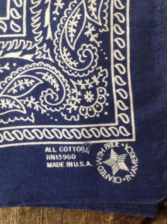 "Vintage indigo blue cotton bandana western rockabilly pocket square color fast paisley RN13960 19"" x 22"""