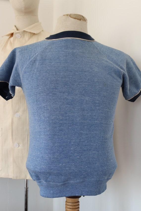 "Vintage 1980s 80s blue marl short sleeved ringer t shirt sweatshirt 34"" chest"