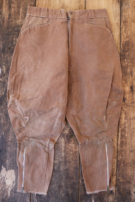 """Vintage 1950s 50s french brown canvas riding hunting breeches darned repaired sun faded 31"""" x 24"""" motorcycle plus fours"""