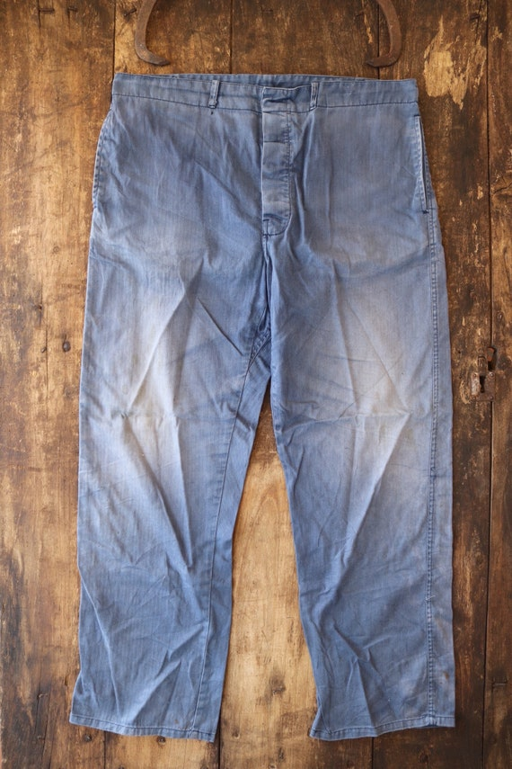 """Vintage french bleu de travail blue faded workwear trousers pants hbt herringbone twill buckle back 38"""" x 30"""" button fly"""
