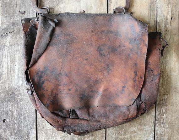 Vintage 1970s 70s Bona Allen brown leather American US mail bag destroyed distressed project repair harvest