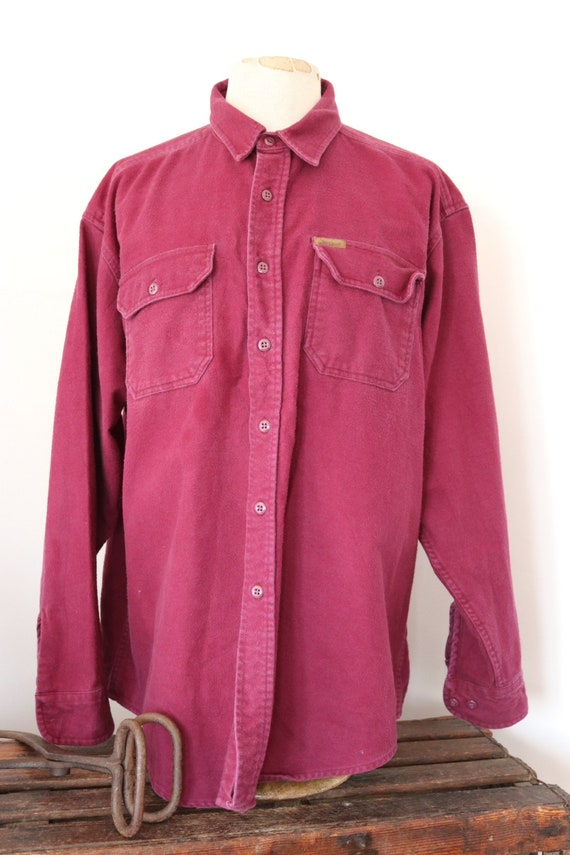 "Vintage 1990s 90s Woolrich plain burgundy red purple chamois cotton expedition shirt Western cowboy 57"" chest XXL RRL"
