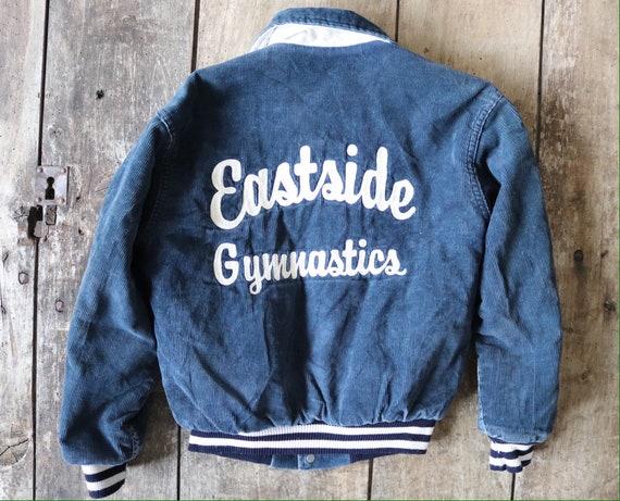 """Vintage kids childrens blue corduroy varsity jacket chain stitch rockabilly 36"""" chest age 7 8 9 10 high school cheerleader rockabilly"""