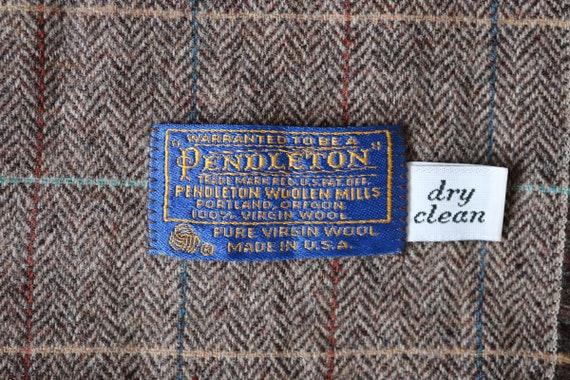 """Vintage Pendleton Woolen Mills scarf woven herringbone wool brown green rust blue 13"""" x 49"""" made in USA"""