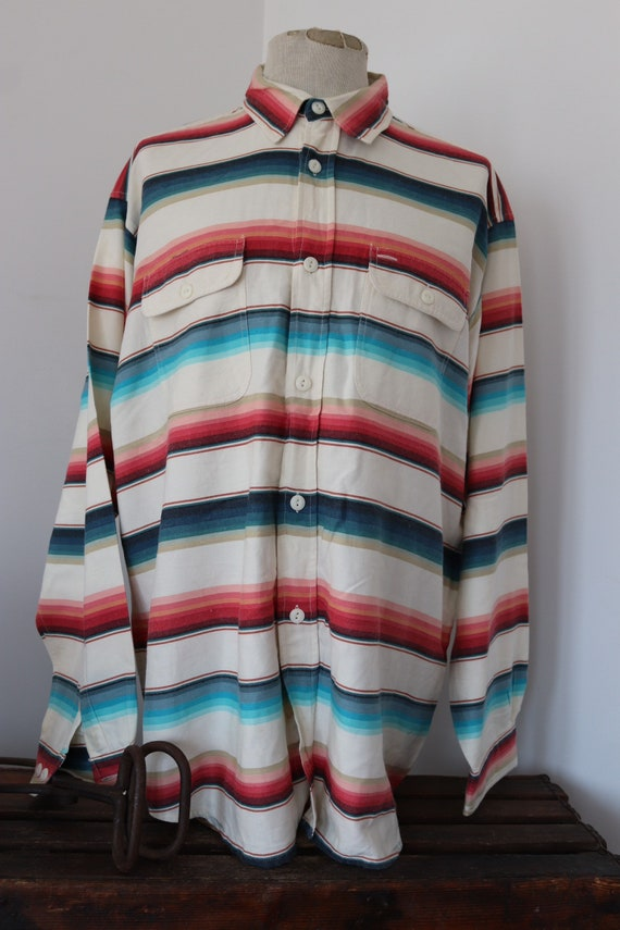 "Vintage 1990s 90s TP Saddle Blanket Co. white red blue serape striped shirt Western cowboy 54"" chest XXL RRL"