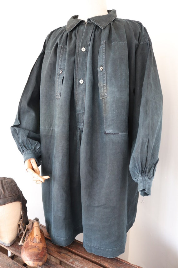 "Vintage 1800s 1880s 1890s french deep indigo cotton biaude milking smock farming agricultural workwear work pleating 72"" chest"
