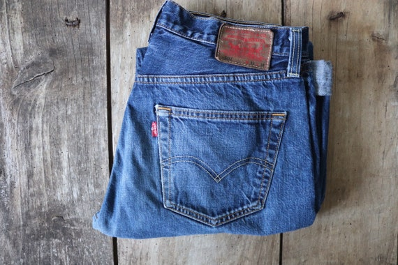 "Vintage Levis Levis Strauss selvedge 501 blue denim jeans 31"" x 33"" workwear red tab small e special edition"