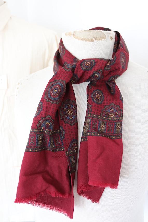 "Vintage 1960s 60s mens tassel tassled scarf mod dapper dandy burgundy red green blue 10.5"" x 45"""