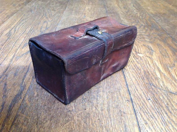 Vintage 1940s 40s Swedish army military brown leather ammo instrument container pouch bag