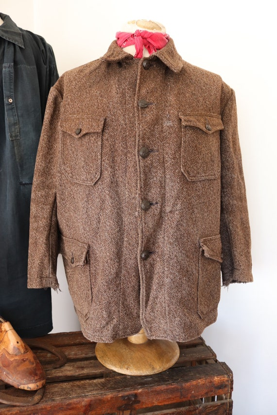 """Vintage 1950s 50s french Pascal wool tweed hunting jacket spaniel buttons workwear work 49"""" chest"""