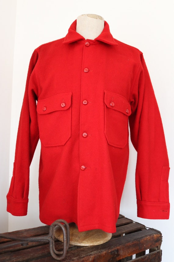 "Vintage 1960s 60s plain red thick wool BSA Boy Scouts of America camp shirt camping rockabilly 46"" chest"