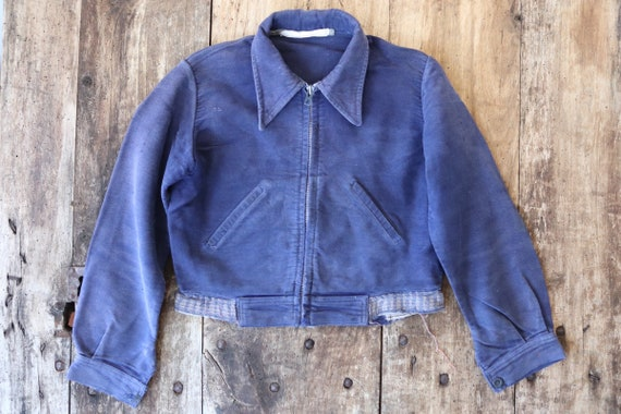 Vintage 1940s 40s french kids childrens bleu de travail blue indigo moleskin jacket work chore workwear age 4 5 6