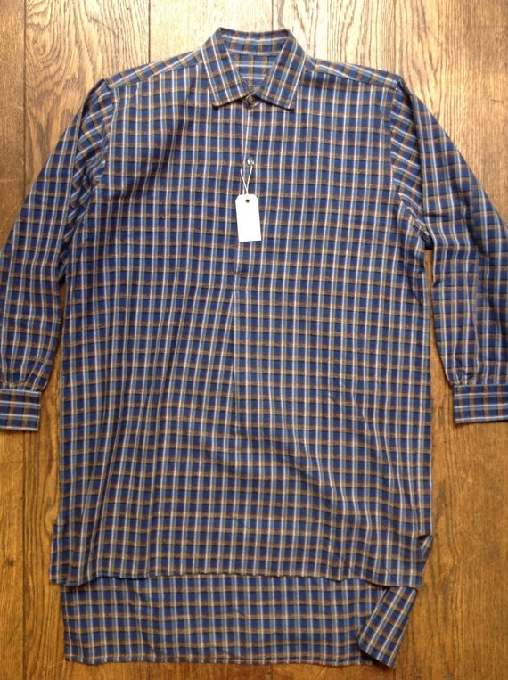 "Vintage blue French European cotton flannel checked popover smock work chore shirt workwear 46"" chest"