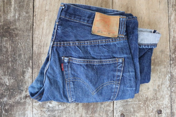 "Vintage Levis Levis Strauss LVC 501 501XX indigo blue denim jeans selvedge big e made in USA 30"" x 29"" redline selvedge button fly"