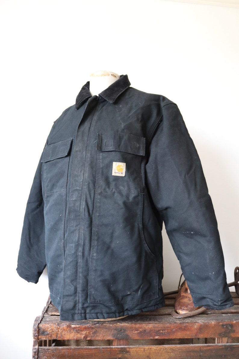 bdb33d24 Vintage black duck cotton canvas Carhartt Detroit work jacket workwear 52