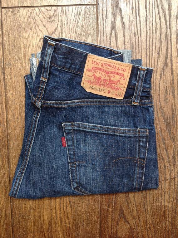 "Vintage Levis LVC 505 indigo blue denim jeans big capital e red tab selvedge 29"" x 31"" Talon zipper"