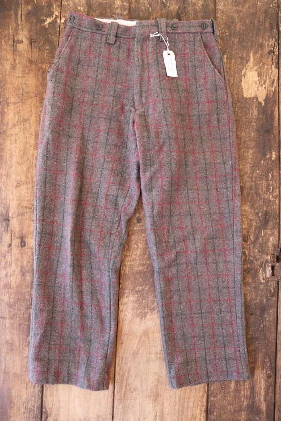 """Vintage Northway grey red green checked plaid wool hunting trousers pants suspender buttons 29"""" x 28"""""""
