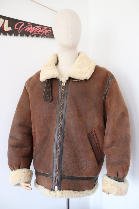 """Vintage brown sheepskin suede mouton shearling B-3 style bomber jacket XL 50"""" chest rockabilly Bane"""