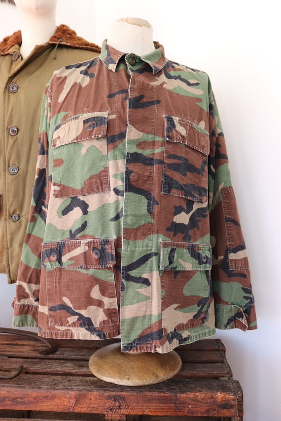 "Vintage 1990s 90s US army rip stop cotton camo shirt 50"" chest USA US military"