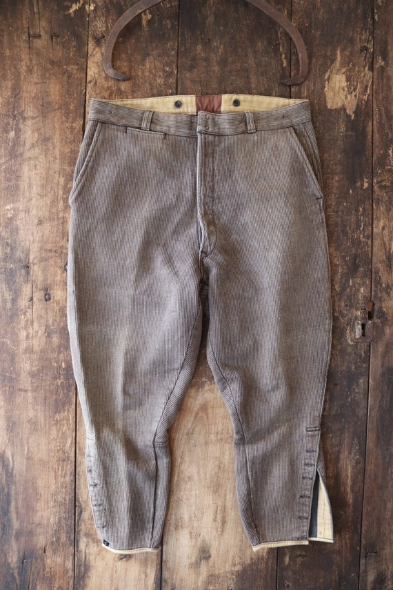 """Vintage 1940s 40s french brown cotton corduroy pique breeches hunting work chore workwear 35"""" x 25"""" suspender button fly"""