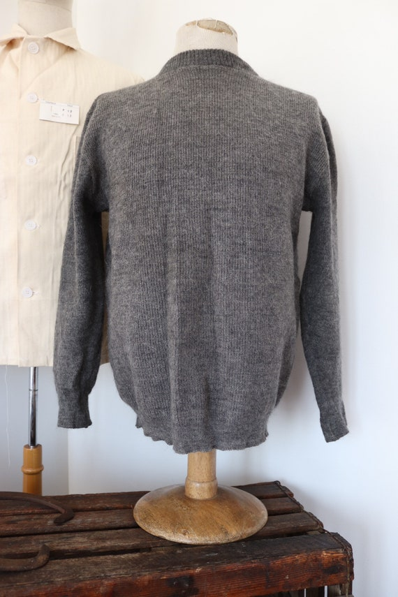 """Vintage 1950s 50s grey wool Swiss army military knitted jumper sweater crew neck 44"""" chest"""