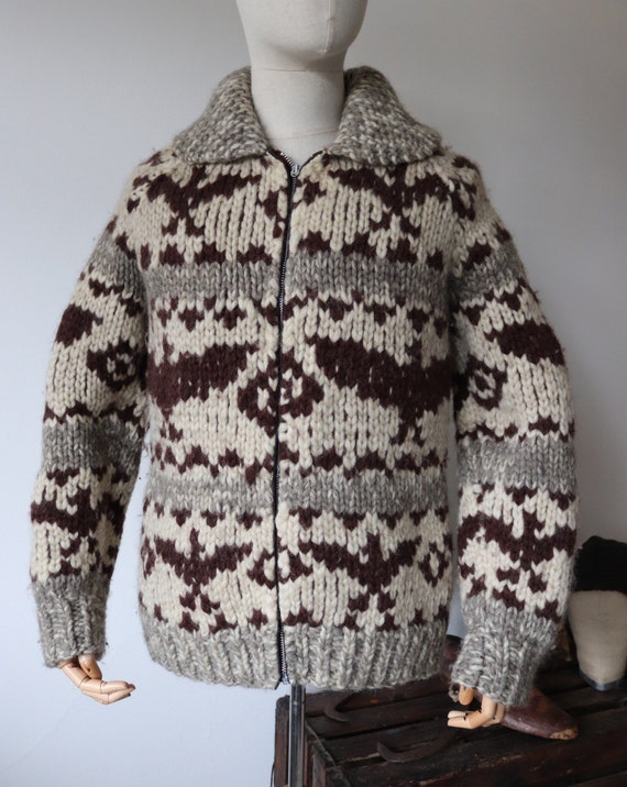"""Vintage 1960s 60s chunky heavyweight hand knitted wool brown cream grey cowichan zip up sweater cardigan jumper thunderbird 41"""" chest unisex"""