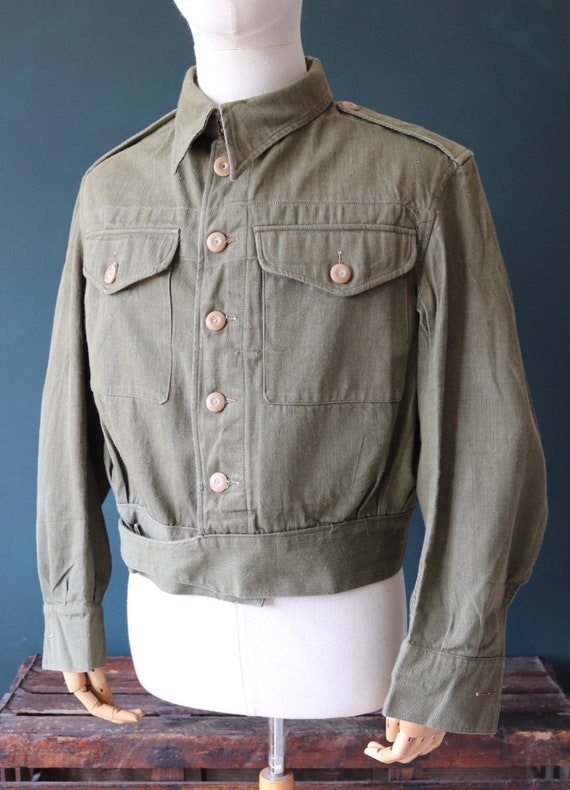 Vintage 1950s 50s khaki green British army denim b