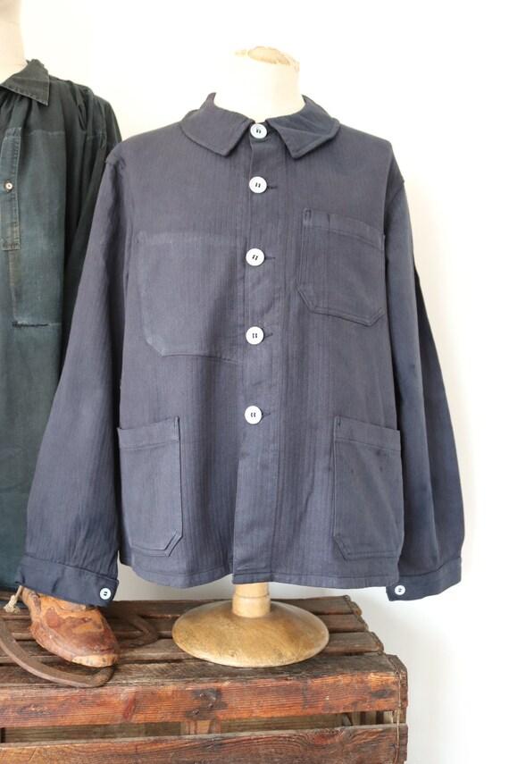 "Vintage 1960s 60s deadstock french painters jacket dyed indigo blue hbt herringbone twill 49"" chest workwear work chore (2)"