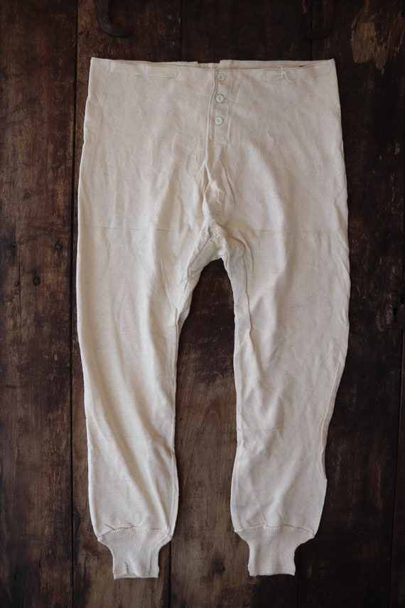 """Vintage 1950s 50s french army military fine knit cotton long johns thermal underwear button fly back 30"""" 32"""" 33"""" 34"""" waist"""
