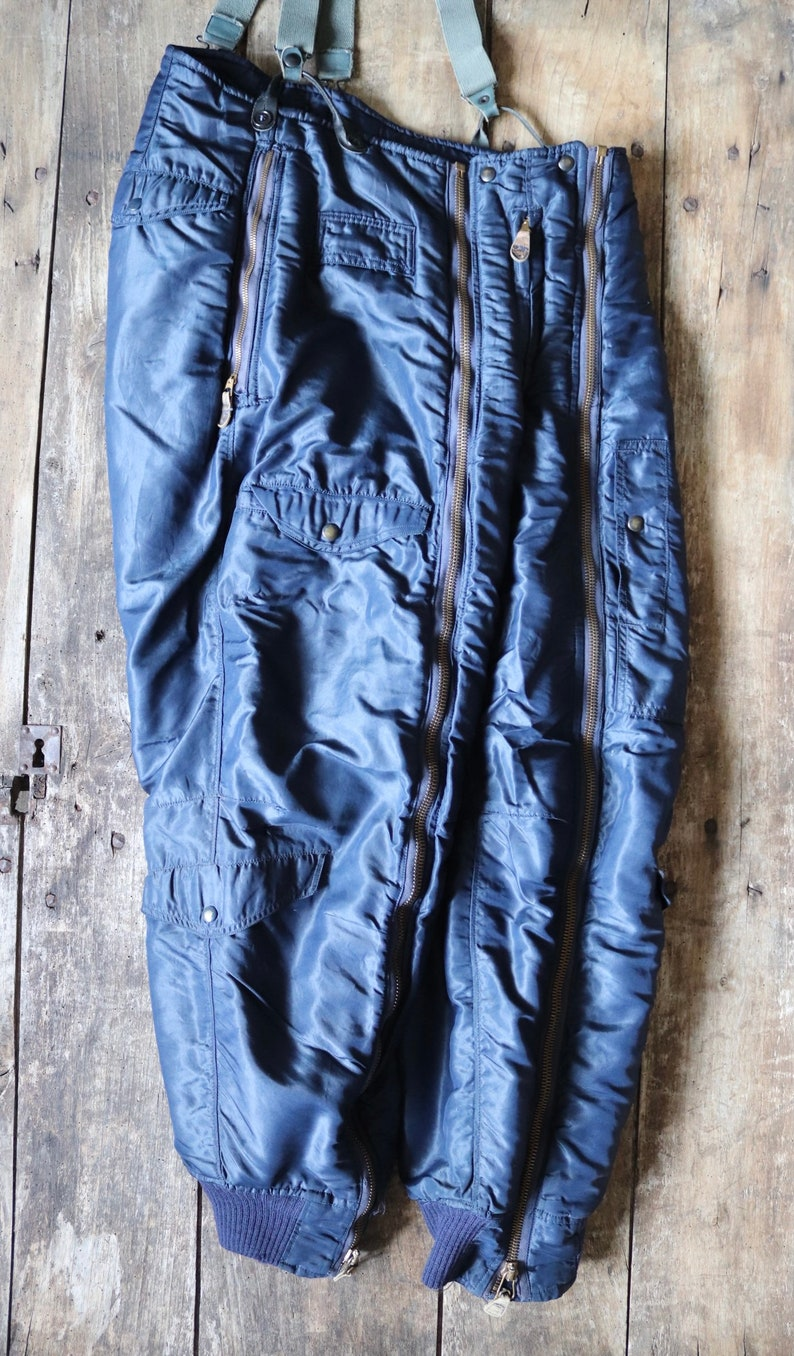 Vintage 1940s 40s 1950s 50s USAF US air force extreme cold weather trousers D-1A overalls Conmar zipper motorcycle Sigmund Eisner 34\u201d x 30\u201d