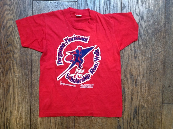 Vintage 1980s 80s kids childrens red Pepsi Missouri Bank t shirt sports print Screen Stars 50/50