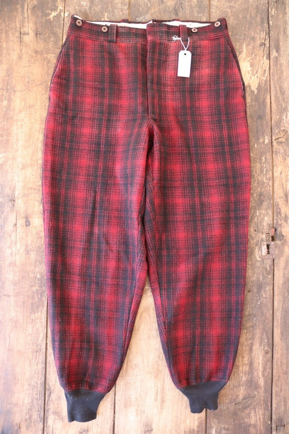 """Vintage 1960s 60s Woolrich red black checked plaid wool hunting trousers breeches suspender buttons 35"""" x 31"""" Talon zipper"""