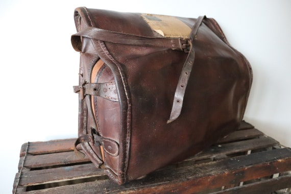 Vintage 1930s 30s 1940s 40s large french brown leather accordion musical instrument shoulder bag case