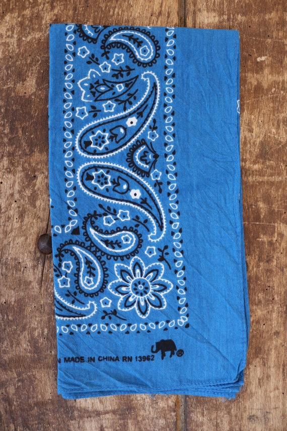 Vintage indigo royal blue paisley cotton bandana RN 13962 made in china cowboy western rockabilly elephant brand trunk up