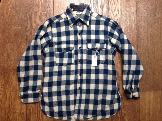 "Vintage 1980s 80s Woolrich teal blue checked plaid outdoor shirt 40"" chest rugged camping hiking"