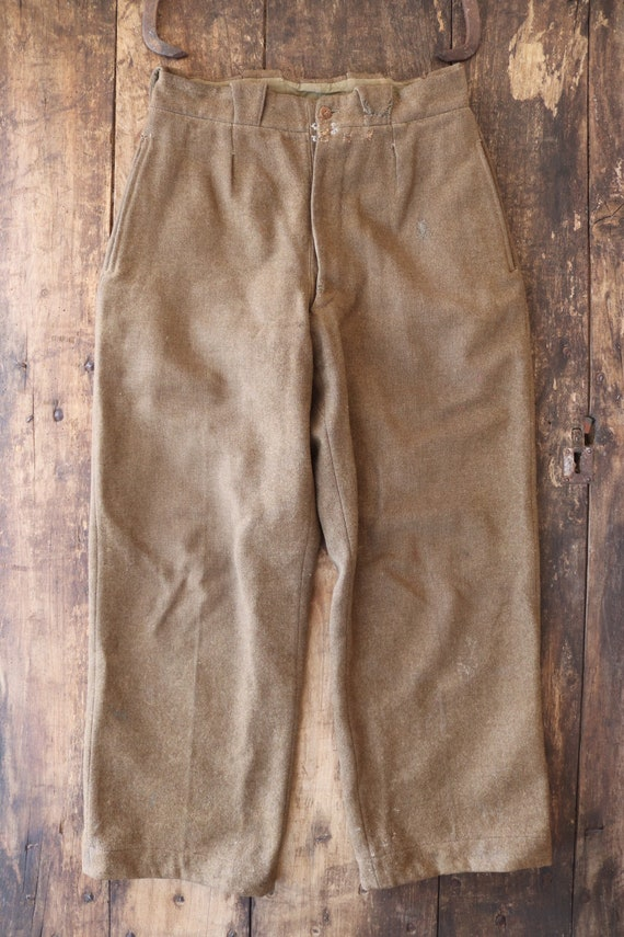 """Vintage 1950s 50s khaki green thick wool french army trousers pants 30"""" x 29"""" repaired darned workwear chore button fly"""