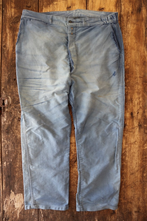 """Vintage 1950s 50s french blue bleu de travail moleskin work chore trousers pants workwear 38"""" x 28"""" repaired darned button fly (4)"""