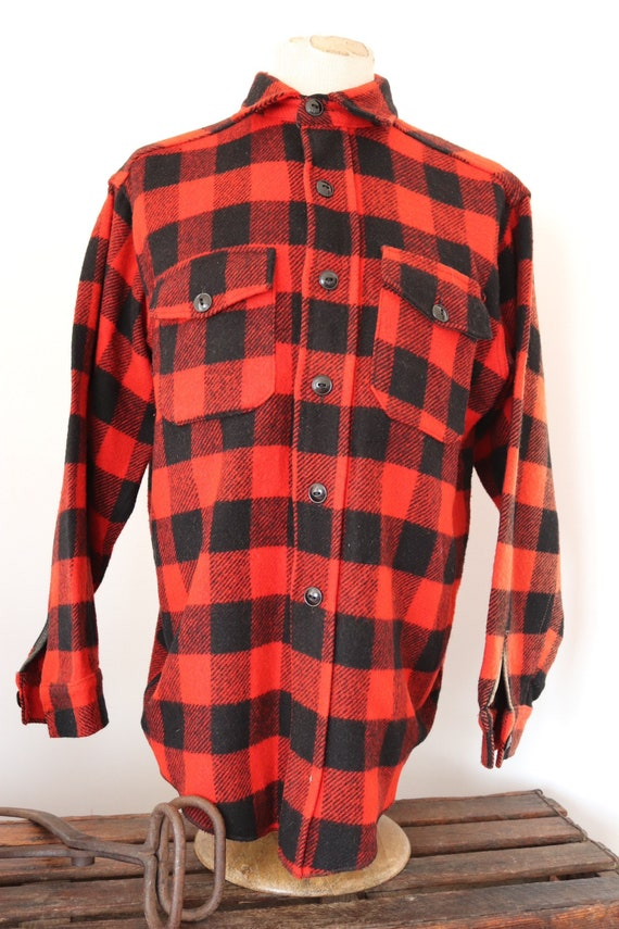 "Vintage 1960s 60s Melton red black checked plaid wool cpo shirt 47"" chest hunting sun faded"